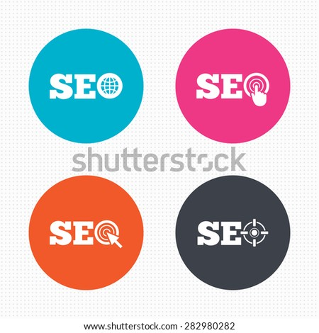 Circle buttons. SEO icons. Search Engine Optimization symbols. World globe and mouse or hand cursor pointer signs. Seamless squares texture. Vector - stock vector