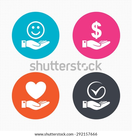 Circle buttons. Smile and hand icon. Heart and Tick or Check symbol. Palm holds Dollar currency sign. Seamless squares texture. Vector - stock vector