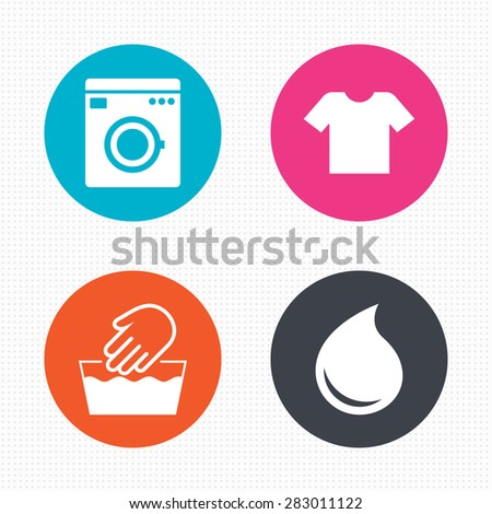 Circle buttons. Wash machine icon. Hand wash. T-shirt clothes symbol. Laundry washhouse and water drop signs. Not machine washable. Seamless squares texture. Vector - stock vector