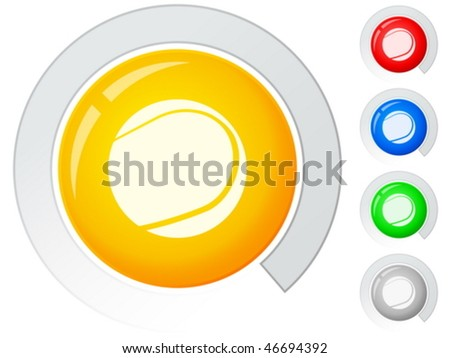 Circle buttons with tennis ball. Vector illustration.