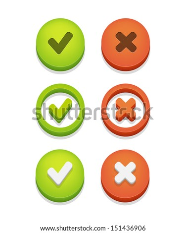Circle check box set with check marks isolated on white. Vector illustration  - stock vector