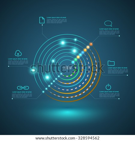 Circle connection for network cable concept. Vector illustration. Can use for business communication, network technology, and brochure infographic. - stock vector