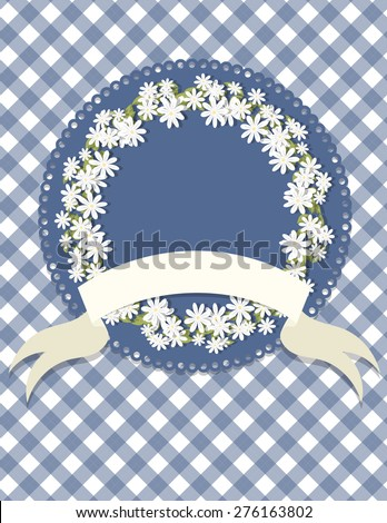 Circle Daisy Wreath Badge and Gingham Background. Circle daisy wreath badge on a gingham patterned background with a ribbon. Ideal for weddings, invitations, and summer events.