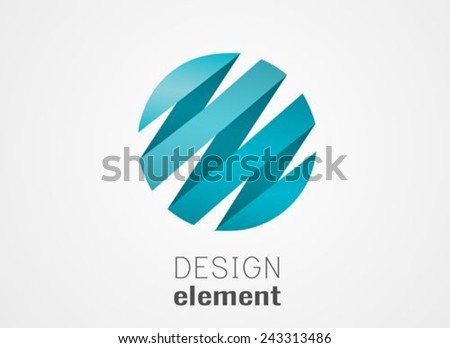Circle design element origami style Business abstract icon. As sign, symbol, logo, web, label, emblem.  - stock vector
