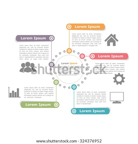 Circle diagram design template with five elements, vector eps10 illustration - stock vector