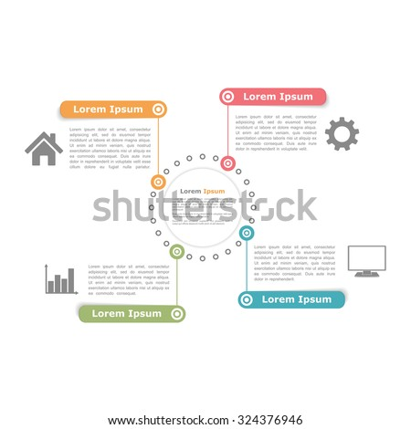 Circle diagram design template with four elements, vector eps10 illustration - stock vector