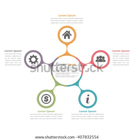 Circle diagram infographics with five elements with icons and text, circle flow chart template, business infographics, flat diagram template, vector eps10 illustration - stock vector