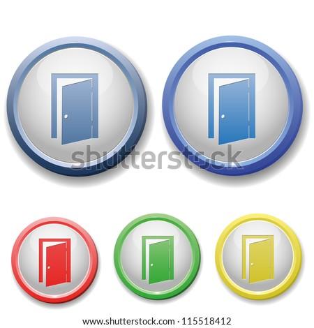 circle exit door icon - stock vector