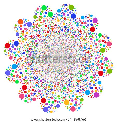 Circle Fireworks Flower vector illustration. Style is bright multicolored flat circles, white background.
