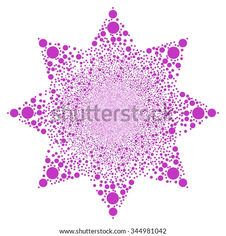 Circle Fireworks Flower vector illustration. Style is violet flat spheres, white background.