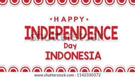 Circle Flag Red and White 73 Years Happy Independence Indonesia