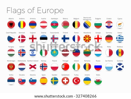 Circle Flags Of The World. Flags of Europe  - stock vector