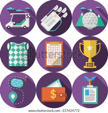 Circle flat vector icons for golf. Vector collection of circle purple flat icons with long shadows with colored elements for golf on white background. - stock vector