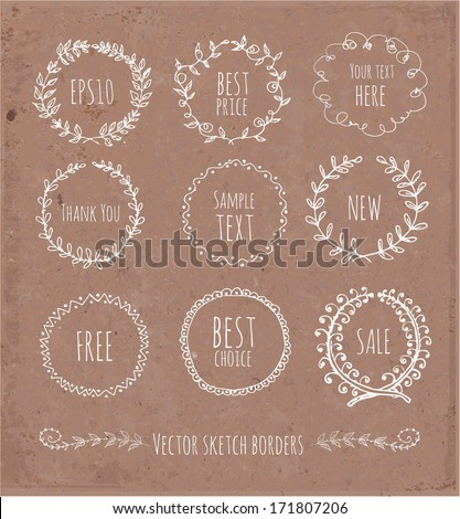 Circle floral borders. Sketch frames, hand-drawn on brown paper. Vector illustration.  - stock vector