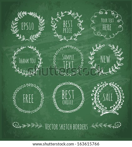 Circle floral borders. Sketch frames, hand-drawn on green chalckboard Vector illustration.  - stock vector