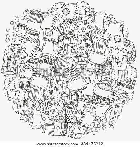 Circle floral ornament. Hand drawn art mandala. Christmas decorative elements in vector. Fancy Christmas socks. Pattern for coloring book. Black and white.  Made by trace from sketch. Zentangle