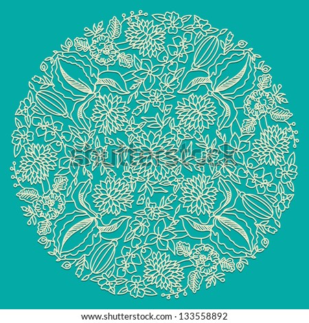 Circle floral ornament, ornamental round lace - stock vector