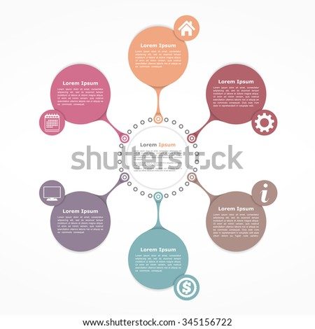 Circle flow diagram template with six elements, vector eps10 illustration - stock vector