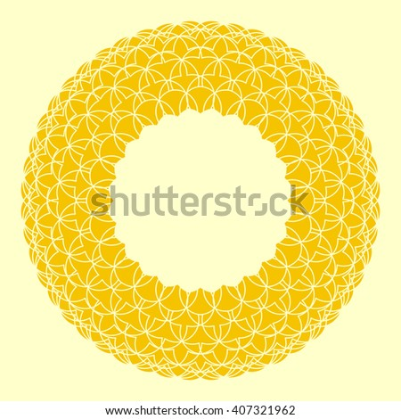 Circle flower frame. Circle background border frame with delicate lace contoured flower. Space background for invitations, promotional poster or greeting cards text. Vector illustration eps - stock vector