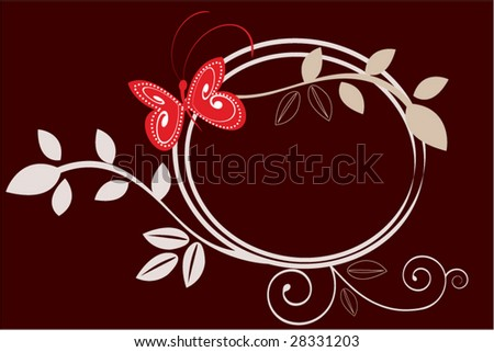 circle foliage frame with butterfly - stock vector