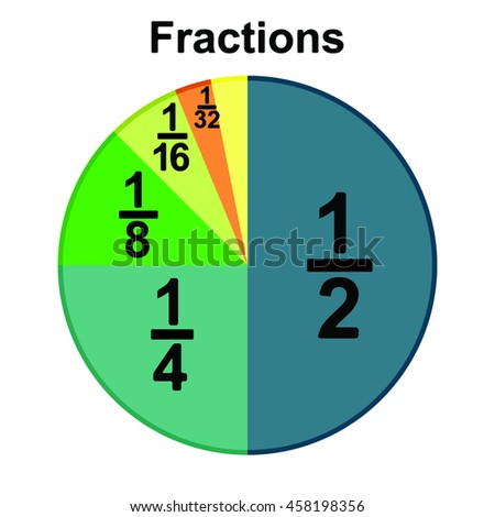 Circle fraction vector parts on the white background