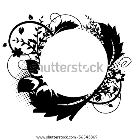 Circle frame with floral decorations 1 - stock vector