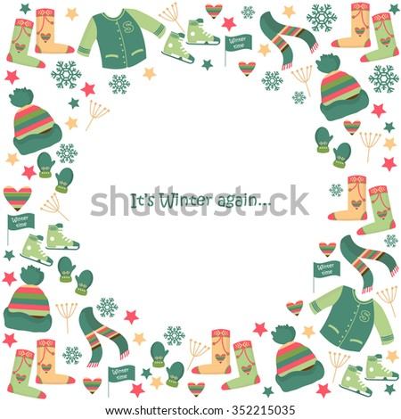 Circle Frame Winter Clothes Sweater Hats Stock Vector (Royalty Free ...