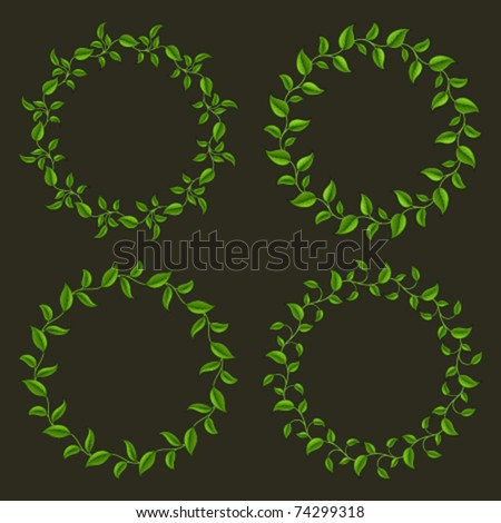 Circle frames from green leaves set. Vector background Eps 10. - stock vector
