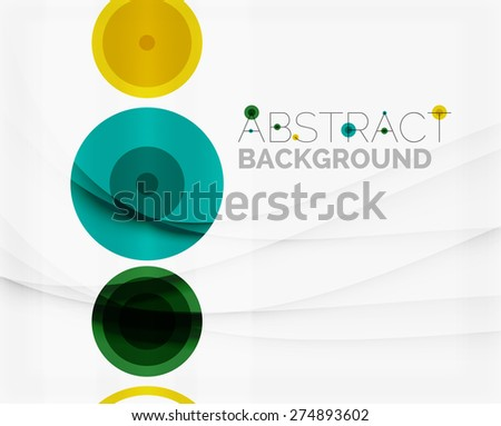 Circle geometric shape composition abstract vector background with crumpled paper effect - stock vector