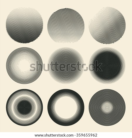 circle grunge halftone drawing textures set. engraving style. vector illustration