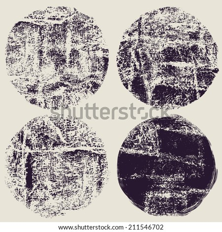 circle grunge halftone textures set. vector illustration - stock vector