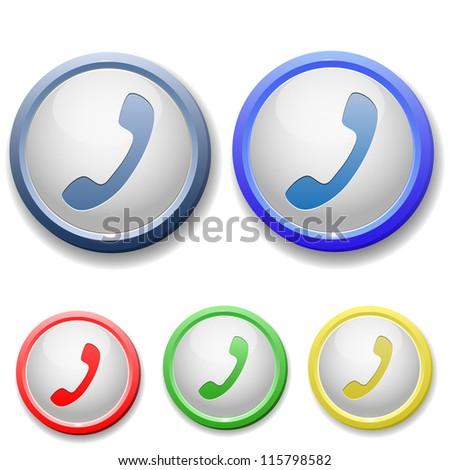circle handset icon - stock vector