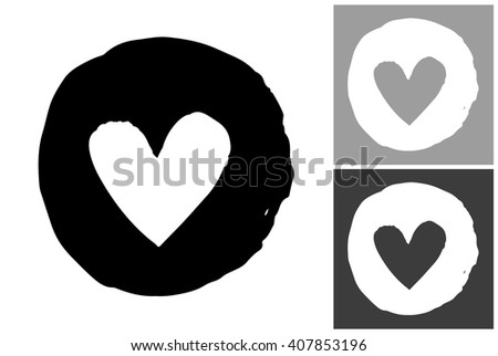 Circle heart vector hand drawn graphic image. Label with minimalistic shape circle heart. Isolated element on white, gray and black background. Paint imitation. - stock vector