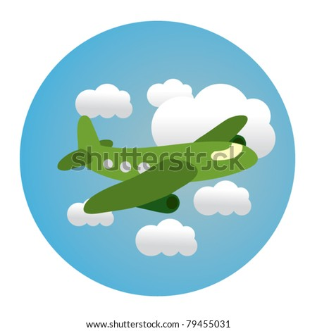 circle illustration of airplane in clouds - stock vector