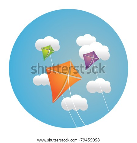 circle illustration of kite in clouds - stock vector