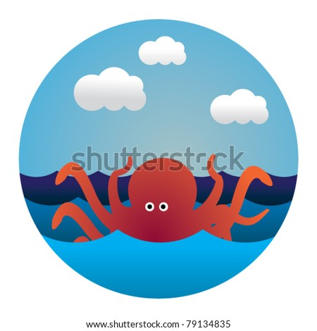 circle illustration of octopus in waves - stock vector