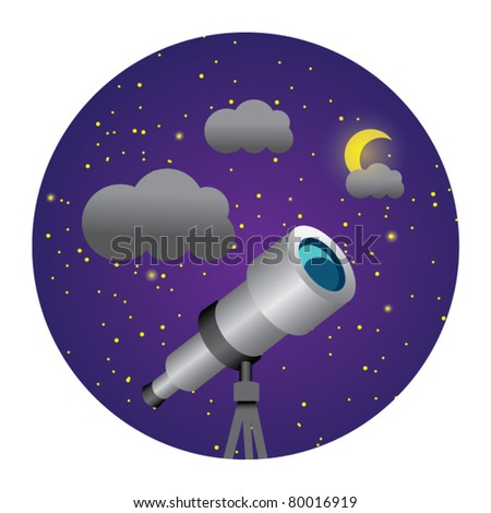 circle illustration of telescope - stock vector