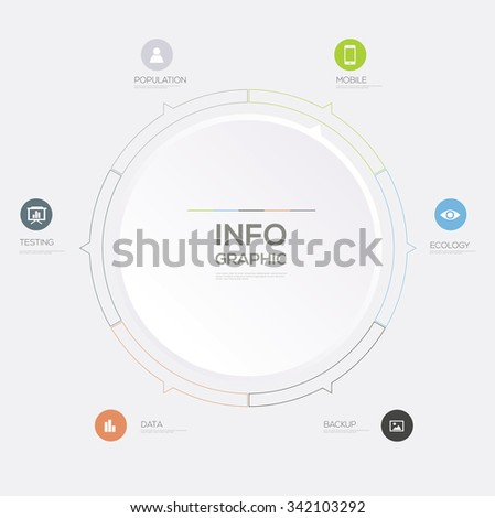 Circle Infographic. Flat Vector design template.  - stock vector