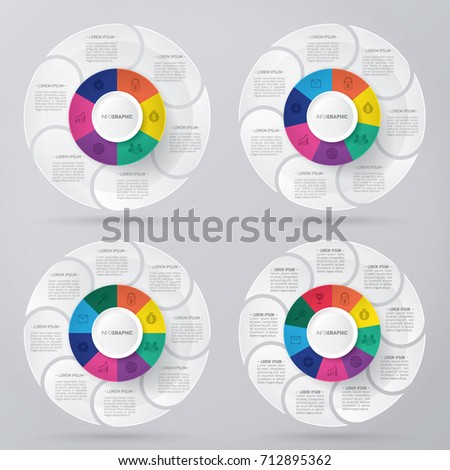 circle infographic template pie charts with 6, 7, 8, 9 steps