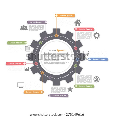 Circle infographics with gear, process diagram template, vector eps10 illustration - stock vector