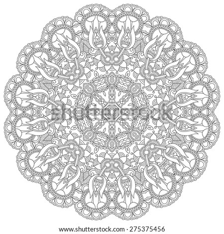 Circle lace ornament, round ornamental geometric doily pattern, black and white collection, vector illustration - stock vector