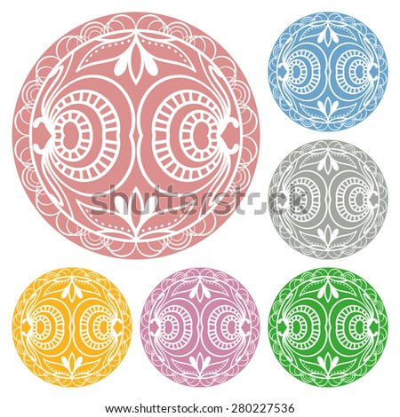 Circle lace ornament, round ornamental geometric doily pattern, christmas snowflake decoration.