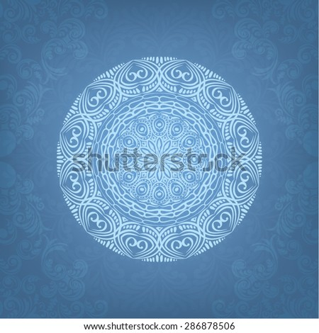 Circle lace ornament, round ornamental geometric doily pattern, christmas snowflake decoration on blue background - stock vector
