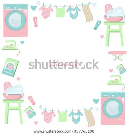 Circle Laundry Frame Set Laundry Symbols Stock Vector 359765198