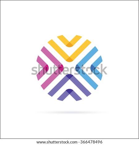 Circle, Letter O, X. Abstract minimalistic logo design - stock vector