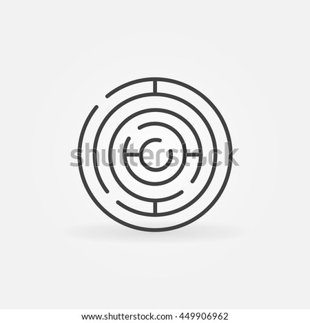 Circle maze linear icon. Vector circular labyrinth outline sign. Business puzzle concept symbol - stock vector