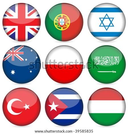 Circle national flag icon set. Vector illustration. - stock vector
