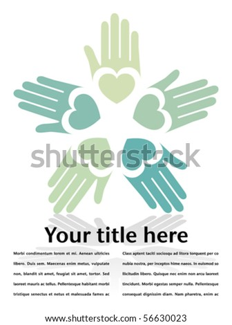 Circle of colorful hands with copy space - stock vector