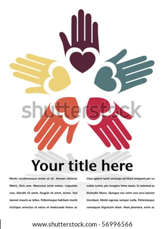 Circle of colorful hands with copy space. - stock vector