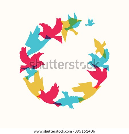 Circle of colorful silhouette birds. - stock vector